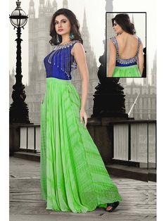 BLUE/GREEN GEORGETTE WOMEN GOWN Price INR13650