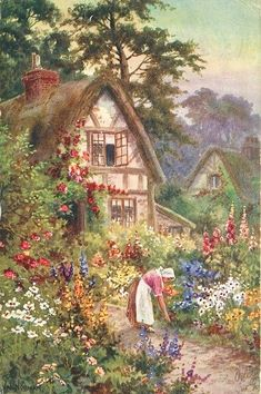 House Garden Illustration Storybook Cottage Ideas For 2019 Art Painting, Illustration, Painting, Beautiful Paintings, Cottage Art, Pictures, Garden Art, Scenery, Beautiful Art