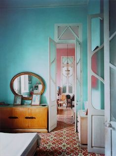 oval mirror and soft dreamy blue