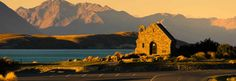 A picturesque view of the Church of the Good Shepherd. A great photo stop if driving between Queenstown and Christchurch. New Zealand Tours, Lake Tekapo, New Zealand South Island, Alpine Lake, Wonderful Places, Beautiful Places, Simply Beautiful, Oh The Places You'll Go, Monument Valley