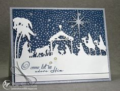 Joyful Creations with Kim: Taylored Expressions Nativity Border Die, Tiny Star Cling Background Stamp by Hero Arts Christmas Paper Crafts, Christmas Cards To Make, Christmas Wishes, Xmas Cards, Christmas Greetings, Handmade Christmas, Holiday Cards, Christmas Nativity, Christmas Images