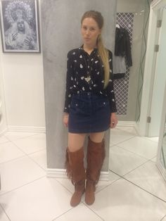 Shopper Hayley wearing a head to toe 70's western look! These amazing new knee high boots are to die for #topshopoxfordcircus #topshoppersonalshopping