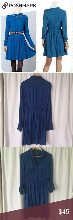 """Anthropologie Maeve Dakota Shirtdress Anthropologie Maeve Dakota Shirtdress. Teal blue in color, excellent condition! Belt/jewelry not included. Shirt dress is perfect for fall the cooler months! Rayon, 36.5"""" length. Anthropologie Dresses"""