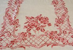 Vintage Linen Cross Stitch Pink and Red Tablecloth Red Tablecloth, Vintage Tablecloths, Cross Stitching, Cross Stitch Embroidery, Cross Stitch Rose, Ribbon Work, Cross Stitch Designs, Needlepoint, Needlework