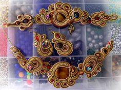 soutache set of pendant, earrings and bracelet by caricatalia.deviantart.com on @deviantART