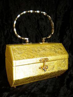 Vintage Gold Foil Lamé Box Purse by flyingvalise on Etsy, $39.00