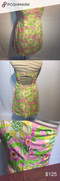 Lilly Pulitzer strapless crocodile dress 👗 Super cute Lilly Pulitzer dress with crocodile print and open back! Side zipper and button closure in back. Lilly Pulitzer Dresses Strapless