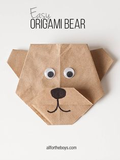 Origami Bear + Disneynature's BEARS printables Fold a brand new friend with this origami bear craft.Fold a brand new friend with this origami bear craft. Diy Origami, Bear Origami, Origami Simple, Easy Origami For Kids, Origami Tutorial, Origami Paper, Diy For Kids, Crafts For Kids, Easy Origami Animals