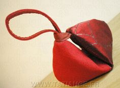 CLUTCH bag crescent shaped 4 red fabrics 'Red Sonya'' by TatiAnge,