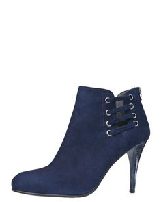 Hotline Suede Lace-Up Ankle Boot, Blue by Stuart Weitzman at Bergdorf Goodman.