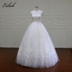 Eslieb Ball Gown Wedding Dresses 2018 Real Photo 3D Floral Handmade Tulle Cap Sleeves High-end Bridal Gowns Vestido de Noiva  #weddingdresses #vintageweddingdresses #bridalgowns #beachweddingdresses #mermaidbridalgowns #mermaidweddinggowns