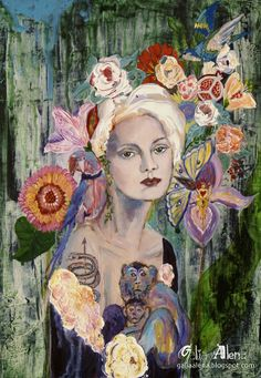"""Galia Alena- In the Garden of Earthly Delights, painting """"I am a garden of earthly delights. I am the apple you would fall for a thousand times."""" ― Diane Lockward"""