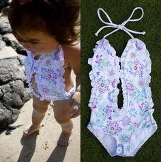 Newborn Baby Girl Floral Swimwear Swimsuit One-Piece Romper Bodysuit Jumpsuit