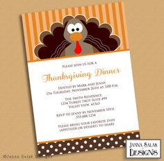 Printable Thanksgiving Dinner Invitation 5x7 Cute Turkey Invite Diy INSTANT DOWNLOAD You Edit PDF by JannaSalakDesigns on Etsy
