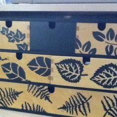 Ikea storage box -  decorated w/ foam stamps.