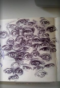 Sketchbook page of eyeballs. Thinking about the lid wrapping around the eye and folding under the brow - so many different ways!