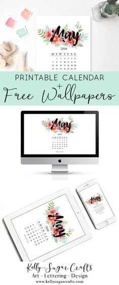 Free May 2018 Calendar Wallpapers + Printable |desktop, phone, tablet wallpaper| by Kelly Sugar Crafts. Floral watercolor typography #calendarwallpaper #desktopwallpaper #phonewallpaper #printablecalendar #freeprintable #background #printable #calendar #wallpapers