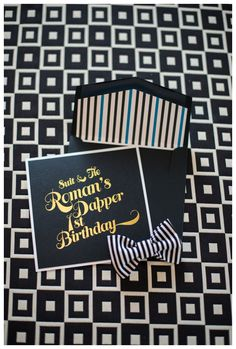 A dapper boy first birthday party invitation! Black with Gold Foil Font, White, and Blue pin striping detail on the envelope insert. Celebrating a stylish little guy with bow ties, pinstripes and black and white geometric details. Baby Boy 1st Birthday, Man Birthday, Boy Birthday Parties, Birthday Party Invitations, Birthday Ideas, Little Valentine, 1st Birthdays, Baby Party, Dapper