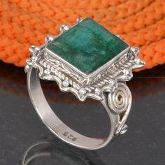 EMERALD 925 SOLID STERLING SILVER DESIGNER RING 6.06g DJR6069 #Handmade #Ring