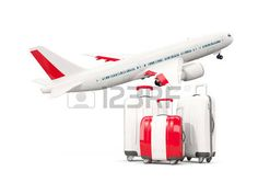Luggage with flag of peru. Three bags with airplane isolated on white. 3D illustration photo