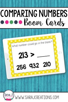 Make digital learning fun with these engaging, no prep Comparing Numbers Boom Cards. These digital task cards are perfect for remote learning but can also be used in a traditional classroom on devices such as ipads, tables, Chromebooks, smartboards, and more. Designed for 2nd grade, these place value task cards include numbers up to 1,000. Teaching Place Values, Teaching Math, Counting In 5s, Place Value Activities, Comparing Numbers, Class Games, Tens And Ones, Ipads, Printable Cards