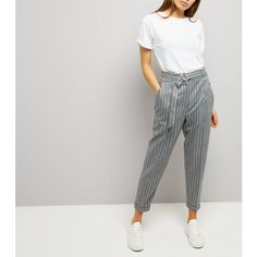 New Look Grey Pinstripe Belted Tapered Trousers ($36) ❤ liked on Polyvore featuring pants, light grey, gray pinstripe pants, taper cut pants, gray trousers, tapered fit pants and tapered pants