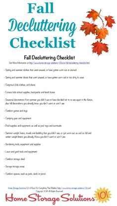Printable fall decluttering checklist, listing seasonal clutter to get out of your home at the close of summer and beginning of autumn courtesy of Home Storage Solutions 101 Fall Checklist, Cleaning Checklist, Cleaning Hacks, Organizing Tips, Getting Rid Of Clutter, Getting Organized, Household Notebook, Household Tips, Clutter Control