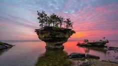 Beautiful Sunrise at Turnip Rock in Michigan...