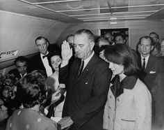 1963. Mere moments after the devastating assassination of President Kennedy, the presidential photographer, Cecil Stoughton, snapped this image of Lyndon B Johnson being sworn in as the new president on board Air Force One. The event occurred mere hours after Kennedy was shot, the reason behind the haunting image of the visibly distraught Jackie Kennedy.