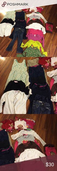 Girls size 4 Lot Sweater cardigans, a super cute lace dress, lots of shirts and pants. Baby gap, gap kids, crazy8, carters, children's place, etc. almost everything is in good condition. The PJs have some wear. A few stains here and there but price reflects that. Gap Bottoms Jeans