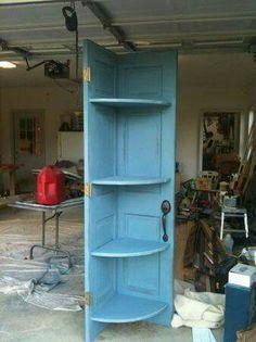 Corner shelf, made from door