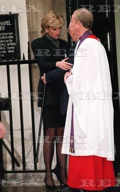 November 17 1995 Diana attends the funeral of Tony Jarred, the Queen's favorite servant at St. James' Palace Chapel in London