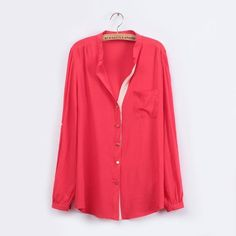 New Fashion Ladies elegant red pocket basic blouses brief V neck long sleeve shirts casual slim designer tops
