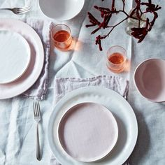 In the palest of pinks and with a natural textured finish this dinnerware set brings a touch of the unexpected to the traditional table setting.