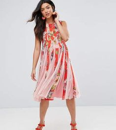 ASOS Maternity Floral Mesh Insert Fit and Flare Midi Dress #Maternity #PregnancyFashion #Ad #BabyBump