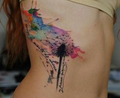 Dandelion blowing seeds water color tattoo
