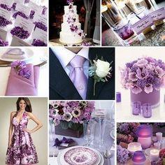 se l'abito della sposa è tinta unita viola (magari un lilla pastello) per le damigelle un abito fantasia molto acceso potrebbe essere una buona scelta.