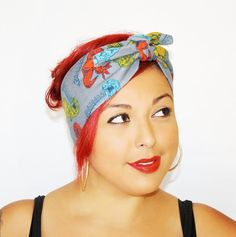 Vintage Inspired Head Wrap Bandana Style Dinosaur by OhHoneyHush,