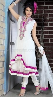 Off White Chudidar Kameez - maybe, but the hi-lo front might also look like an accident