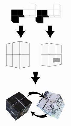 Klappwürfel/Faltwürfel/Zauberwürfel/Magic Folding Cube - Versteckbox mit Kuh Lieselotte. PDF-Druckvorlage für die Würfel.