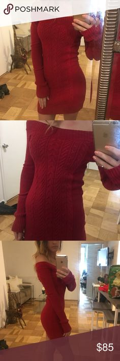BCBG Sweater Dress Stretchy red sweater dress, off the shoulder BCBGMaxAzria Dresses Long Sleeve