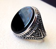 Oval Cut Natural Black Onyx Ring For Men Sterling Silver Oval Shape Astrology US 4,5,6,7,8,9,10,11,12