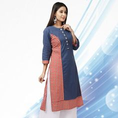 Get in touch with your feminine side as you wear this navy blue and red straight kurti from the latest collection of DESI CHHOKRI. Shop now: http://bit.ly/2hdU5Wj #desichhokri