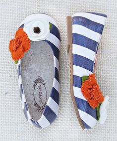 Blue  White Stripe Skimmer Flat - Girls by Joyfolie on #zulily