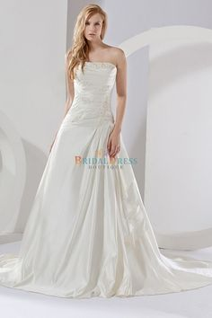 Ruffles Princess Strapless Chapel Train Applique Ivory Satin Wedding Dress