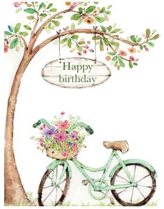 Bicycle with flowers illustration in watercolor Bicycle Painting, Bicycle Art, Happy Birthday Greetings, Birthday Wishes, Graffiti Kunst, Happy B Day, Birthday Images, Watercolor Paintings, Art Drawings