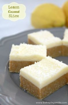 Lemon Coconut Slice I actually made this and it was divine. Tasted a bit like cheesecake! Lemon Recipes, Milk Recipes, Sweet Recipes, Baking Recipes, Dessert Recipes, Desserts, Cake Recipes, Lemon Coconut Slice, Coconut Bars