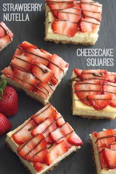 Strawberry Nutella Cheesecake Square Recipe... Delicious!   CatchMyParty.com
