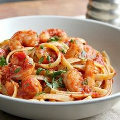 Shrimp Fra Diavolo with Lots of Garlic! Fast, simple, delicious!  Going to use spaghetti squash instead of pasta.