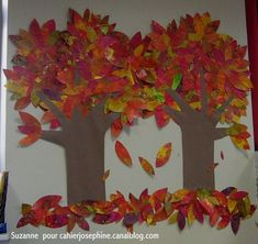 Pour que les feuilles d'automne restent sur les arbres.... - Les cahiers de Joséphine Fall Arts And Crafts, Fall Crafts For Kids, Art For Kids, Holidays Halloween, Halloween Kids, Autumn Art, Bunt, Projects To Try, Animation